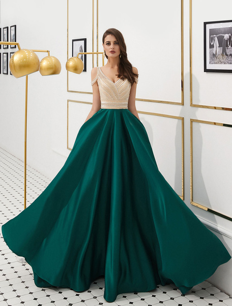 Prom Satin Beaded Luxury Cold Shoulder Formal Evening Gowns .