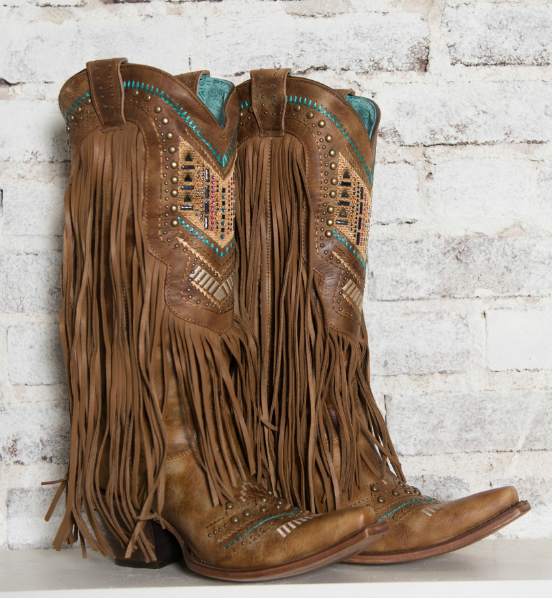 Women's Honey Crystal Pattern Fringe Boot - C2910   Boots, Cowgirl .