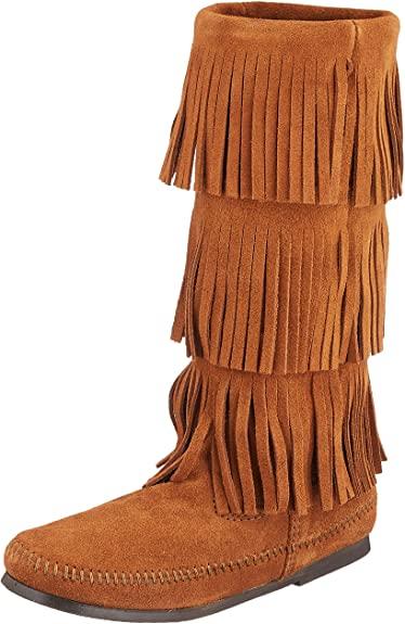 Amazon.com   Minnetonka Women's 3-Layer Fringe Boot   Mid-Ca