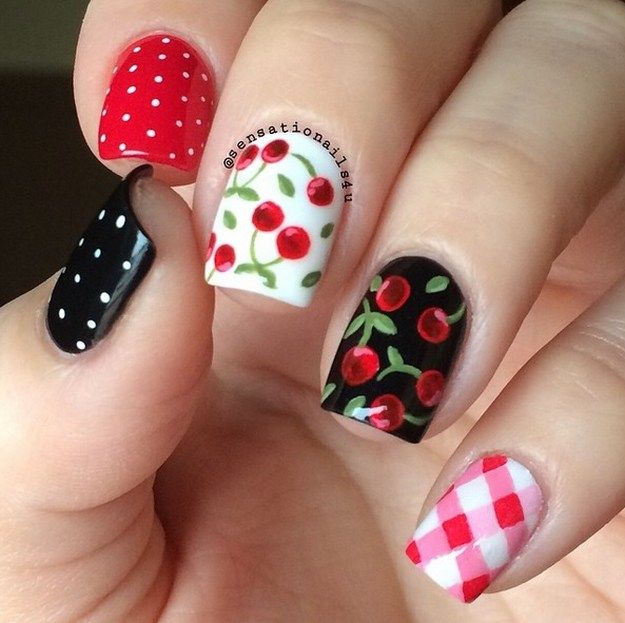 Cherry Nails | Yummy Fruit Nail Art Designs On Instagram To Drool .