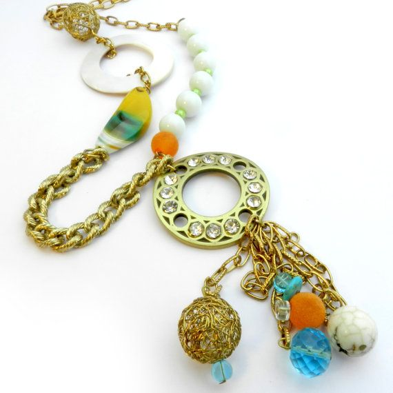 Long summer beaded necklace - multicolored pendant necklace in .