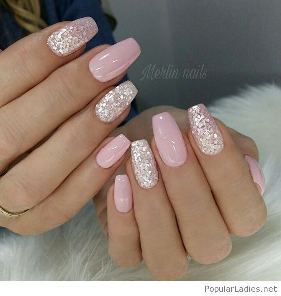 Light pink gel nails with silver glitter | Pink gel nails, Wedding .
