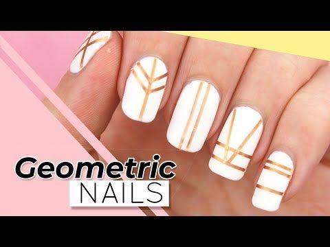 GEOMETRIC NAIL ART   Easy STRIPING TAPE NAILS for Beginners .