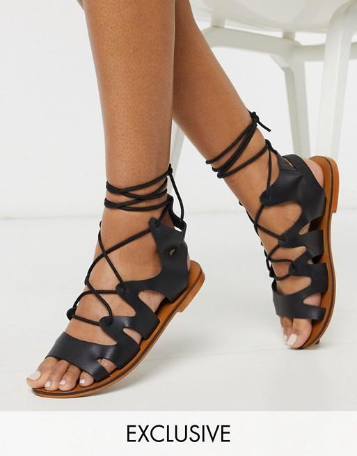 ASRA Exclusive Savannah gladiator sandals in black leather | AS