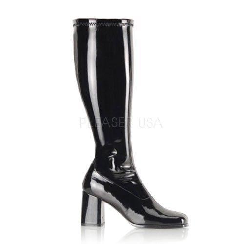 3 Block Heel Shiny Black Gogo Stretch Knee Boots Club Glam 7-13 .