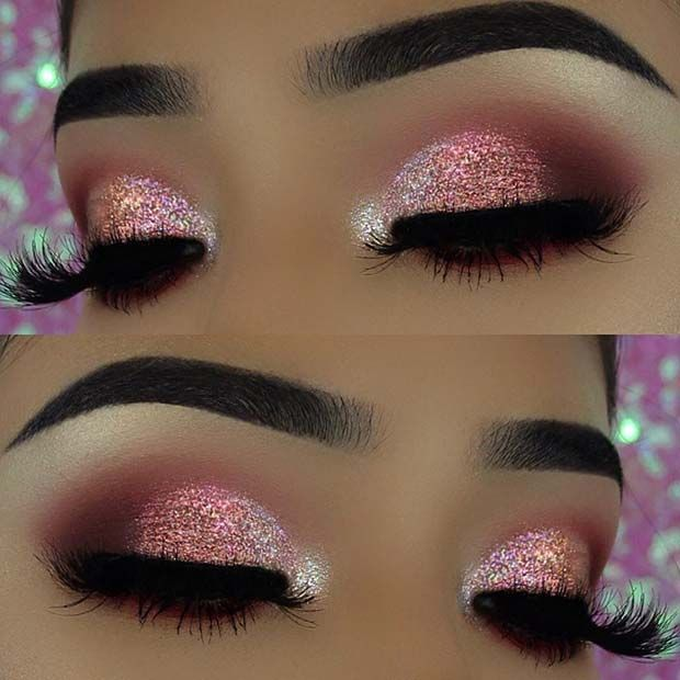 43 Glitzy NYE Makeup Ideas | Page 2 of 4 | StayGlam | Pink eye .
