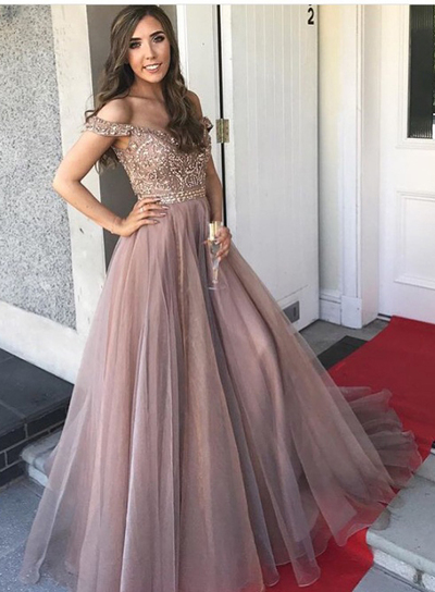 Gorgeous Prom Dresses,Off The Shoulder Prom Gown,Brown Prom .
