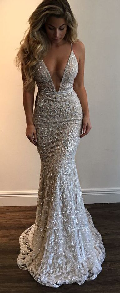 Gorgeous Prom Dress,Prom Dresses,Straps Prom Gown,Deep V-neck Prom .