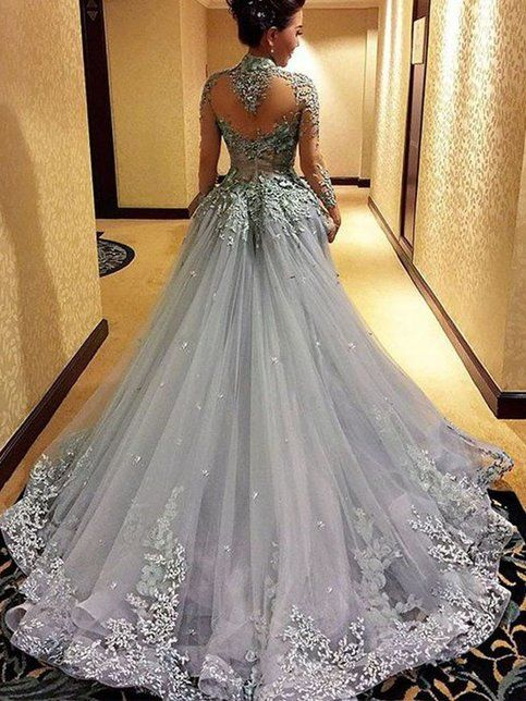 gorgeous prom dress,long gray Prom Dress,charming evening gown .