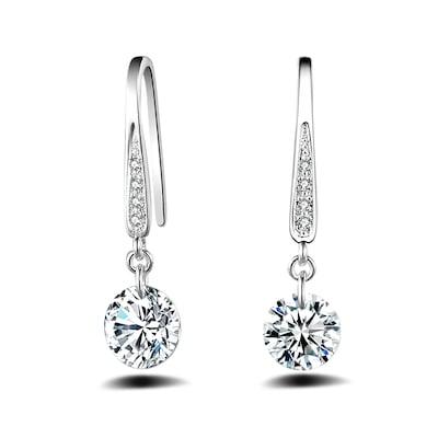 Fashion Design Zircon Silver Plated Graceful Drop Earrings Charm .