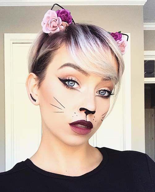 41 Easy Cat Makeup Ideas for Halloween | StayGlam | Cat halloween .