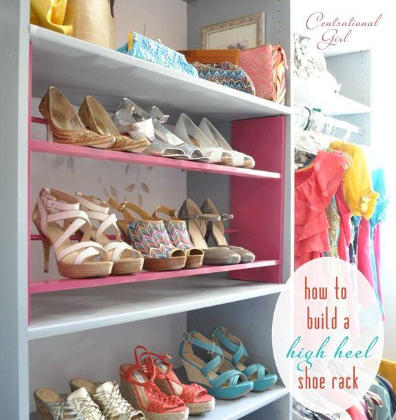 How to Build a High Heel Shoe Rack | Centsational Style | Diy shoe .