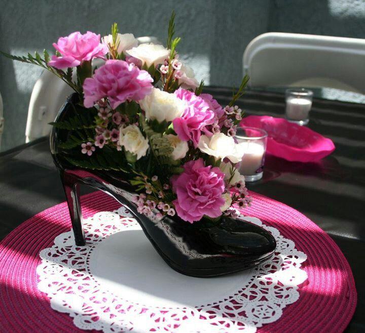 high heel shoe centerpiece ideas | Shoe centerpieces: Maybe .