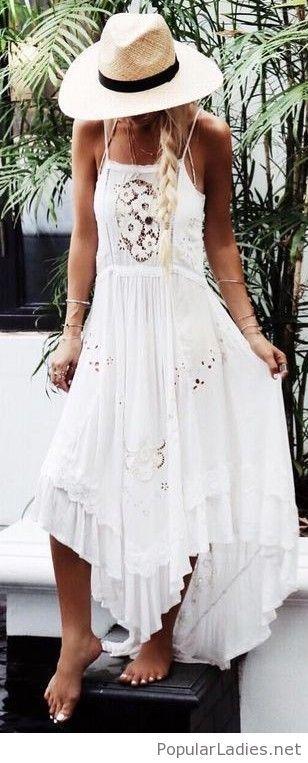 Boho white lace maxi and hat | White maxi dress boho, Boho maxi .