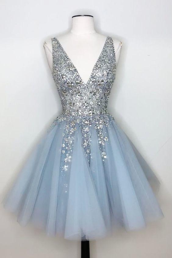 princess silver sequins and light sky blue short homecoming dress .