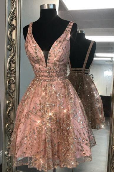 Unique V Neck Pink Beads Backless Homecoming Dresses Short Prom .