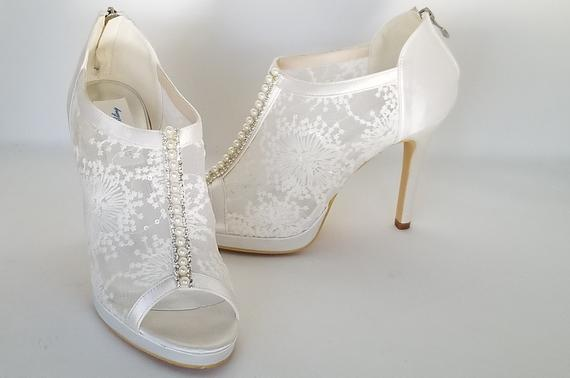 Lace Wedding Shoes with Pearl and Crystal Accent Lace Bridal   Et