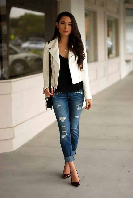 5 Best Leather Jacket Outfit Ideas to Copy Now | White leather .