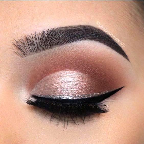 light pink eyeshadow glitter eyeliner #Makeuplooks | Party eye .