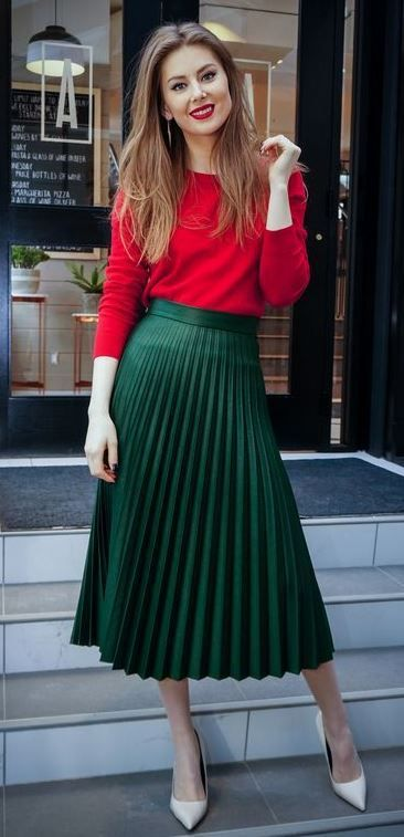 Lovely lipstick colored sweater with lovely and beautiful green .