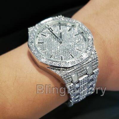 Men's Luxury Designer Style Bling White Gold PT Simulated Diamond .