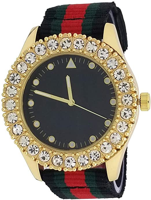 Amazon.com: Techno Pave 14K Gold Plated Iced Style 1 Row Big Stone .