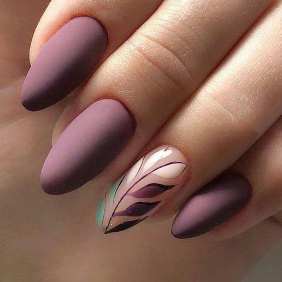 49 Trendy Almond Matte Nail Designs You'll Love   Lavender nails .