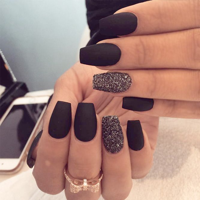 27 Matte Black Nails That Will Make You Thrilled   Matte nails .