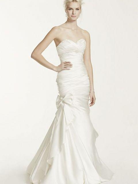 David's Bridal Satin Mermaid Wedding Dress with Bow Detail V3204 .