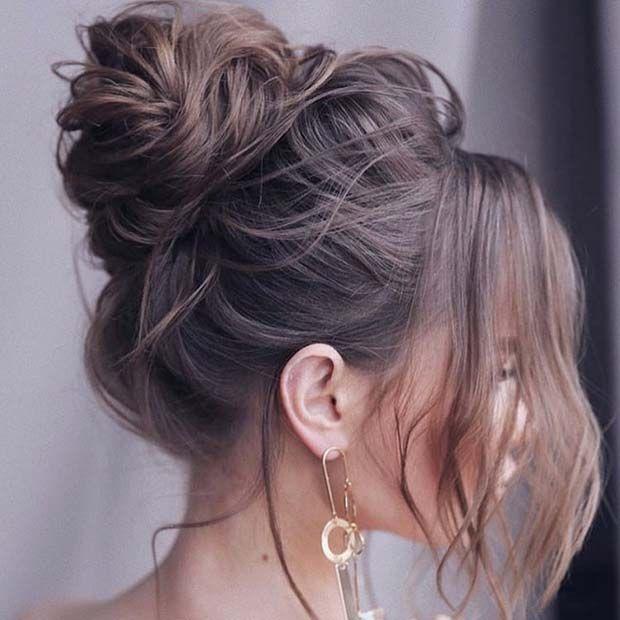 21 Cute and Easy Messy Bun Hairstyles in 2020   High bun .