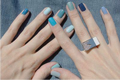 Blue multicolored nail polish | Multicolored nails, Blue ombre .