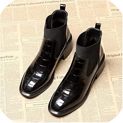 Amazon.com | Plush Ankle Boots Women Square Heel Chelsea Boots .