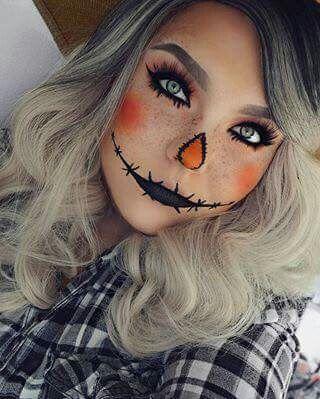Halloween makeup, Pumpkin makeup, orange | Pretty halloween .