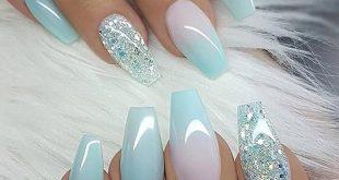 Pretty summer nails   Glitter accent nails, Cute acrylic nails .