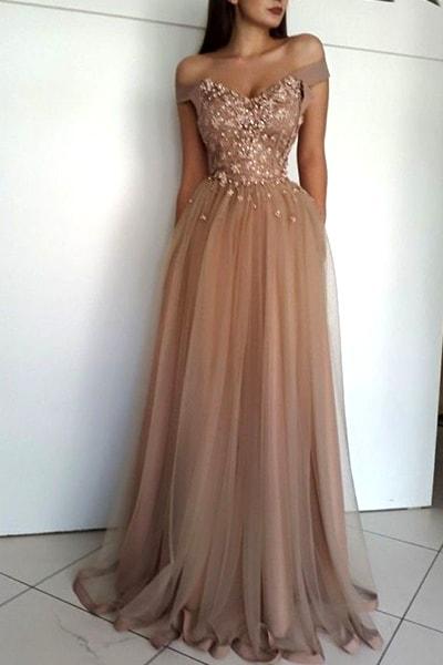 off-the-shoulder-nude-prom-dress | Ecemel