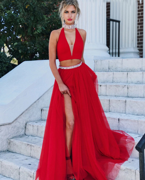 Red tulle two pieces long prom dress, red evening dress · Dress .