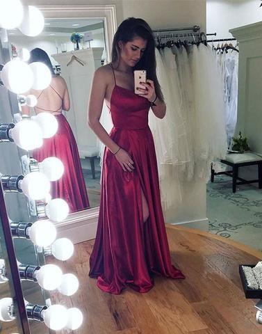 Simple backless long prom dress, burgundy evening dress from Dress .
