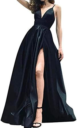 Prom Dresses A-line Spaghetti Straps V-Neckline Long Formal .