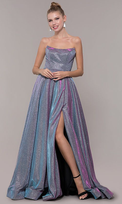 Long Strapless Iridescent Ballgown Style Prom Dress | Prom dresses .