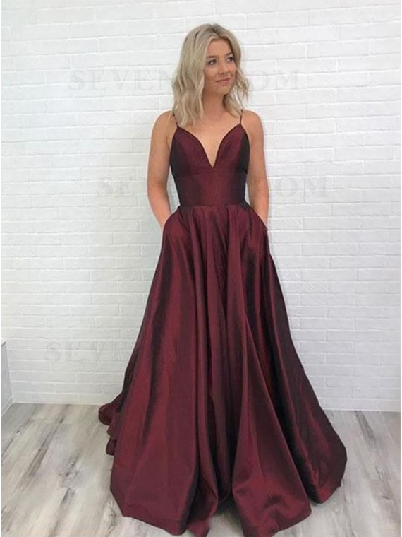 Buy A-Line Spaghetti Straps Backless Long Burgundy Prom Dress with .
