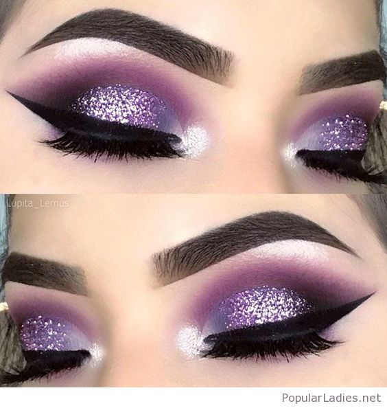 Amazing purple and glitter eye makeup | Purple smokey eye makeup .