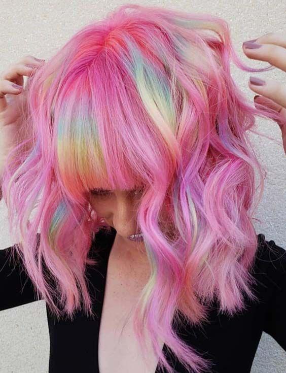 39 Stunning Rainbow Haircuts with Bangs in 2018 | Bayperwa | Hair .