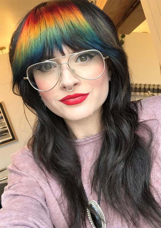 Best Long Hairstyles with Rainbow Bangs for Women 2019 | Hair .