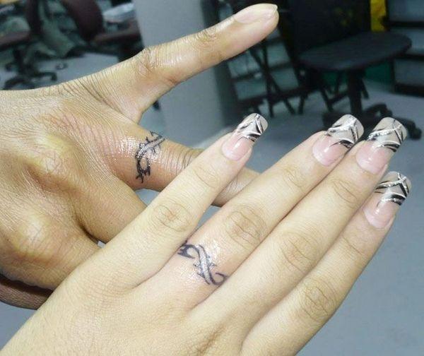 48 Sweet Wedding Ring Tattoos   Ring tattoo designs, Wedding .