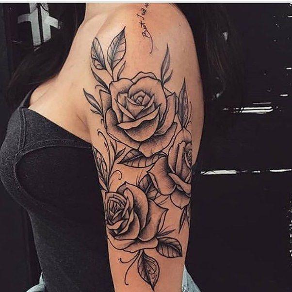 52 Unique Rose Tattoo Ideas · | Rose shoulder tattoo, Shoulder .