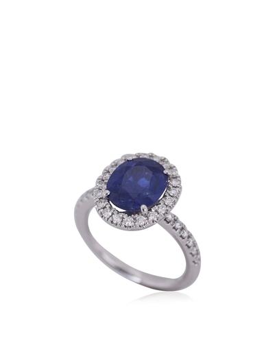 Customised Design 900 Platinum Dark Blue Sapphire Ring | Reebonz .