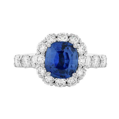 Christopher Designs Diamond Halo Cushion Cut Blue Sapphire Fashion .