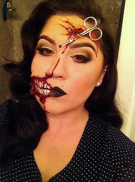 21 Scary Halloween Makeup Ideas   StayGlam   Creepy halloween .