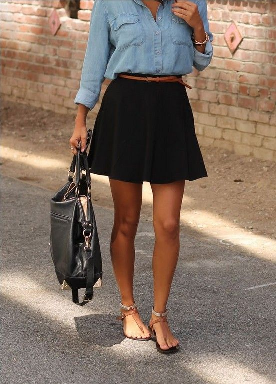 8 Ways to Wear Classic Black Skirt in Spring/Summer - Pretty .
