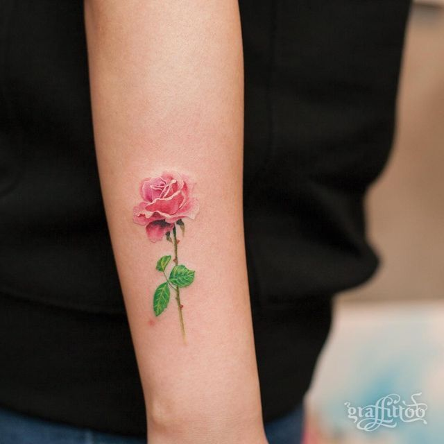 Delicate color rose tattoo | Small rose tattoo, Pink tattoo, Pink .